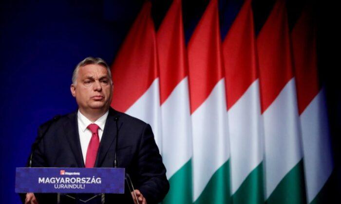 Hungarian Prime Minister Viktor Orban addresses a business conference in Budapest, Hungary, on June 9, 2021. (Bernadett Szabo/Reuters)
