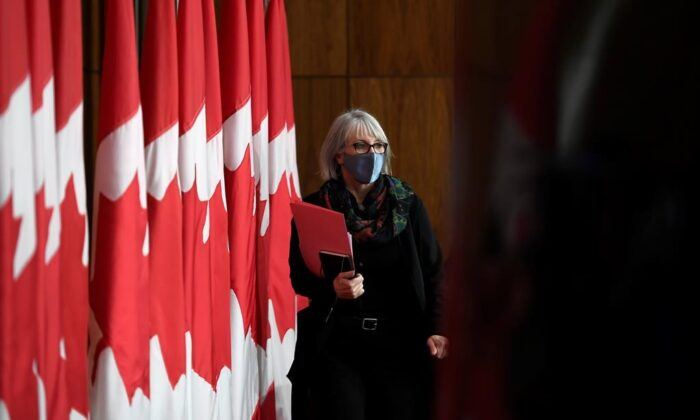 Health Minister Patty Hajdu arrives for a news conference in Ottawa on Dec. 4, 2020. (The Canadian Press/Justin Tang)