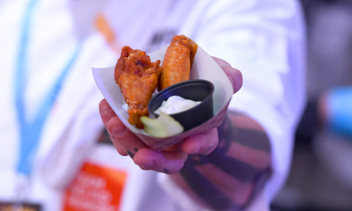 Chicken wings are on display at a food festival at Pier 97 in New York City, N.Y., on Oct. 10, 2019. (Noam Galai/Getty Images for NYCWFF)