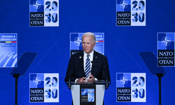 U.S. President Joe Biden speaks during a press conference after the NATO summit at the North Atlantic Treaty Organization (NATO) headquarters in Brussels, on June 14, 2021. (Brendan Smialowski/AFP via Getty Images)