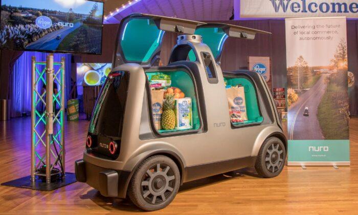 The unmanned delivery vehicle, Nuro, is seen during the Kroger annual shareholders meeting in Cincinnati, Ohio, on June 28, 2018. (Kroger/Handout via Reuters)