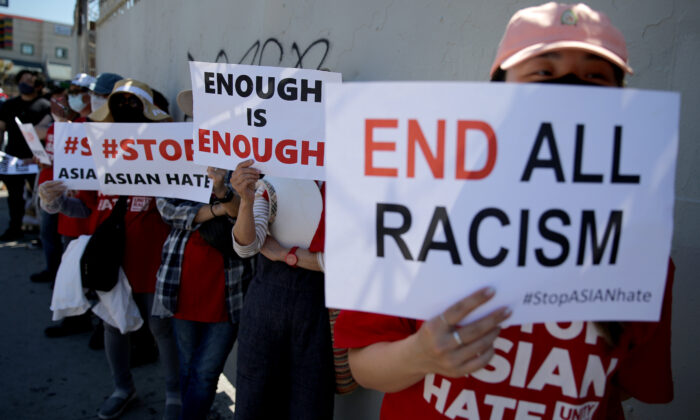 People demonstrate at the 'Stop Asian Hate March and Rally' in Koreatown in Los Angeles, Calif., on March 27, 2021. (Mario Tama/Getty Images)