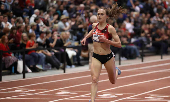 Shelby Houlihan crosses the finish line to win the Women's 3000 M during the 2020 Toyota USATF Indoor Championships at Albuquerque Convention Center in Albuquerque, N. M.,  on Feb. 14, 2020. (Christian Petersen/Getty Images)
