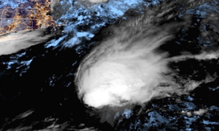 Tropical Storm Bill is seen as it formed about 335 miles east of Cape Hatteras in North Carolina on June 15, 2021. (Courtesy of U.S. National Hurricane Center)
