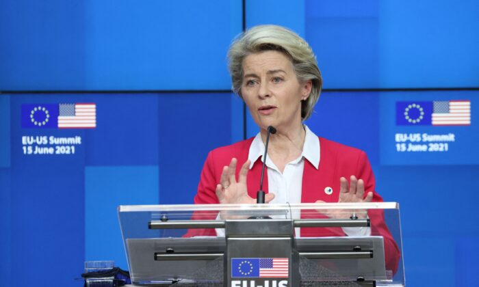 President of the EU Commission Ursula von der Leyen gives a press conference after an EU-US summit at the European Union headquarters in Brussels, Belgium, on June 15, 2021. (Kenzo Tribouillard/AFP via Getty Images)
