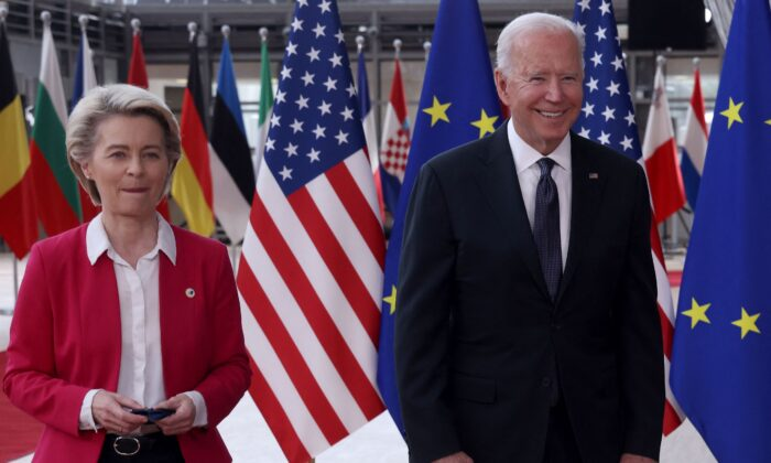 President of the EU Commission Ursula von der Leyen (L) and President Joe Biden arrive for an EU-US summit at the European Union headquarters in Brussels on June 15, 2021. (Kenzo Tribouillard/AFP via Getty Images)