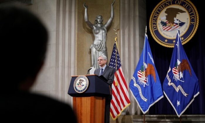 Attorney General Merrick Garland delivers remarks at the Department of Justice in Washington on June 11, 2021. (Tom Brenner/Pool via Reuters)