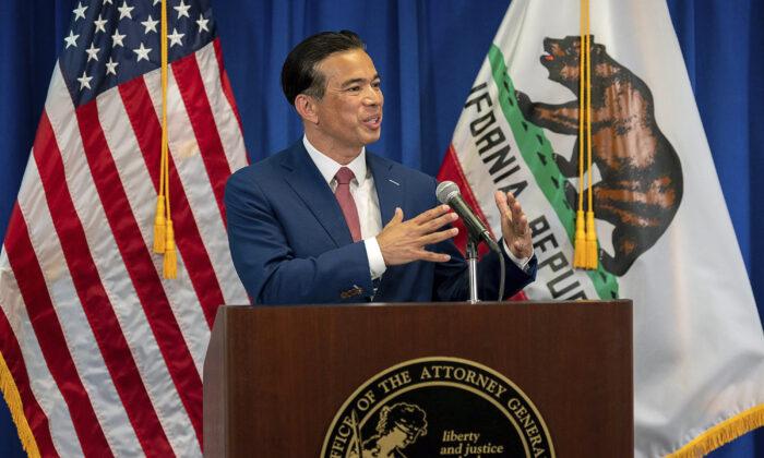 California Attorney General Rob Bonta speaks in Sacramento, Calif., on April 23, 2021. (Paul Kitagaki Jr./The Sacramento Bee via AP/)