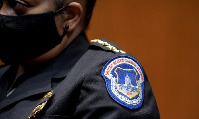 Acting U.S. Capitol Police chief Yogananda Pittman attends a Senate Appropriations Subcommittee hearing on Capitol Hill in Washington on April 21, 2021. (Greg Nash/Pool/Getty Images)