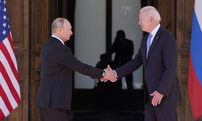President Joe Biden (R) and Russian President Vladimir Putin (L), arrive to meet at the 'Villa la Grange' in Geneva, Switzerland, on June 16, 2021. (Patrick Semansky/AP Photo)