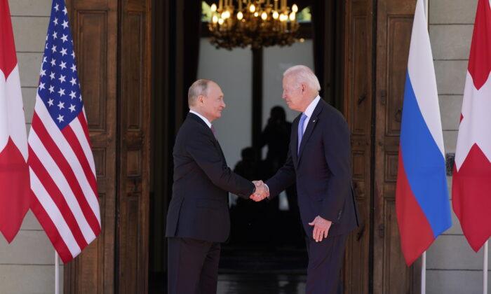"President Joe Biden and Russian President Vladimir Putin arrive to meet at the ""Villa la Grange,"" in Geneva, Switzerland, on June 16, 2021. (Patrick Semansky/AP Photo)"