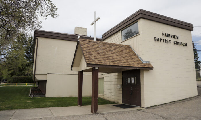 The Fairview Baptist Church is seen in Calgary, Alta., Canada, on May 17, 2021. Fairview Baptist Church Pastor Tim Stephens was arrested Sunday for organizing a church service that police say did not comply with public health orders on masking, physical distancing and attendance limits. (The Canadian Press/Jeff McIntosh)