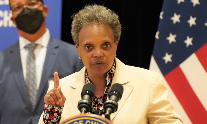 Chicago Mayor Lori Lightfoot speaks during a press conference at the Richardson Middle School in Chicago on June 14, 2021. (Cara Ding/The Epoch Times)