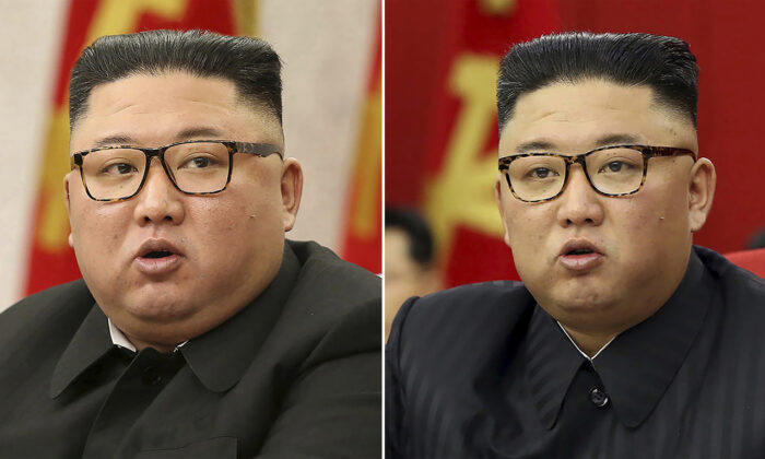 This combination of file photos shows North Korean leader Kim Jong Un at Workers' Party meetings in Pyongyang, North Korea, on Feb. 8, 2021 (L) and June 15, 2021. (Korean Central News Agency/Korea News Service via AP)