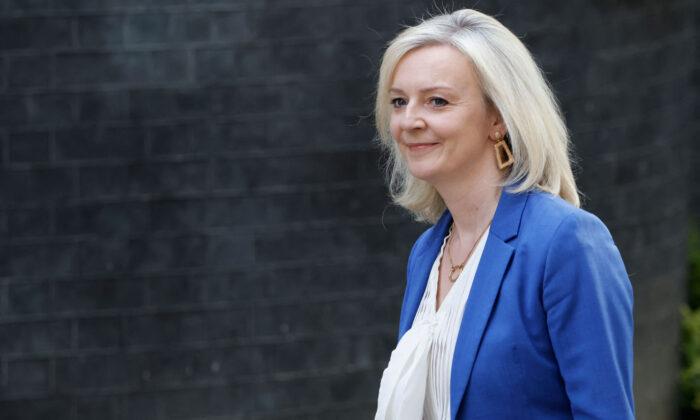 Britain's International Trade Secretary Liz Truss arrives at Downing street in central London on June 15, 2021. (Tolga Akmen/AFP via Getty Images)