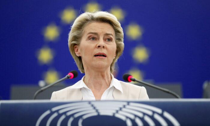 European Commission President Ursula von der Leyen speaks at the European Parliament in Strasbourg, France, on June 8, 2021. (Jean-Francois Badias/Pool via Reuters)