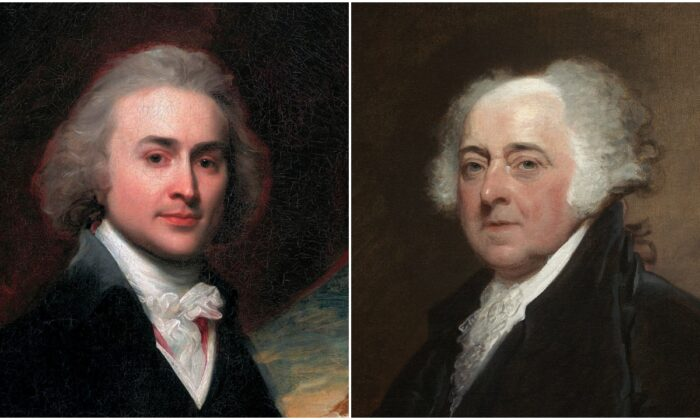 (L-R) Portraits of John Quincy Adams, age 28, by John Singleton Copley, and John Adams by Gilbert Stuart. (Public domain)