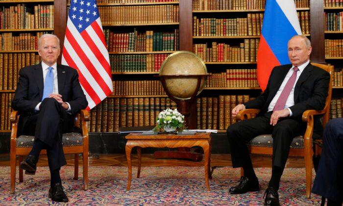 U.S. President Joe Biden (L) meets with Russian President Vladimir Putin (R) at the 'Villa la Grange' in Geneva, Switzerland, on June 16, 2021. (Denis Balibouse/Pool/AFP via Getty Images)