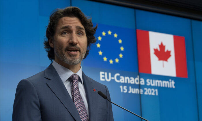 Canadian Prime Minister Justin Trudeau speaks during a joint news conference with European Council President Charles Michel European Commission President Ursula von der Leyen following the EU-Canada Summit in Brussels, Belgium, on June 15, 2021. (The Canadian Press/Adrian Wyld)