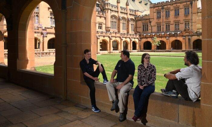 People at the University of Sydney in Sydney, Australia on Oct. 16, 2017. (AAP Image/Dean Lewins)