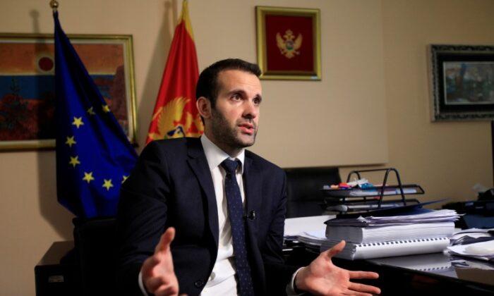 Montenegrin Finance Minister Milojko Spajic speaks during an interview with Reuters in Podgorica, Montenegro, on May 25, 2021. (Stevo Vasiljevic/Reuters)