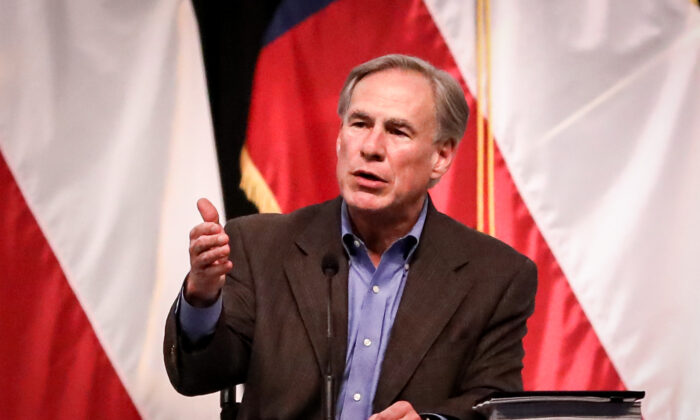 Texas Gov. Greg Abbott during a border security summit in Del Rio, Texas, on June 10, 2021. (Charlotte Cuthbertson/The Epoch Times)