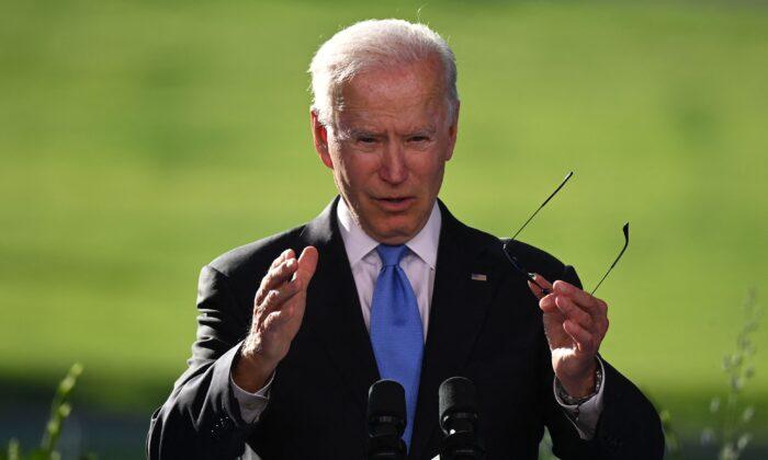 President Joe Biden holds a press conference after the U.S.-Russia summit in Geneva on June 16, 2021. (Brendan Smialowski/AFP via Getty Images)