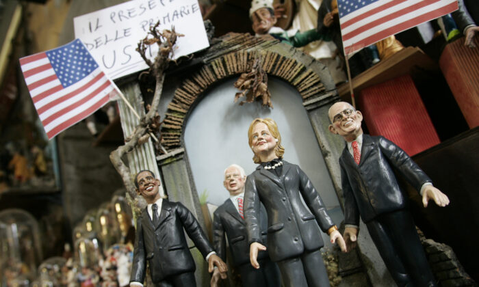 Detail of figurines of U.S. politicians and 2008 U.S. Presidential Election candidates (L-R) Barack Obama, John McCain, Hillary Rodham Clinton, and Rudolph Giuliani displayed in a shop in Naples, Italy, on Nov. 14, 2007. (Salvatore Laporta/Getty Images)