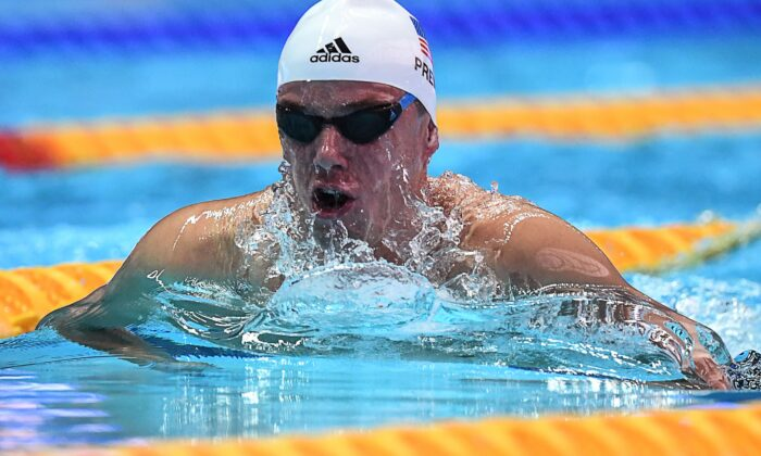 USA's Josh Prenot competes in a heat for the men's 200m breaststroke event during the swimming competition at the 2019 World Championships at Nambu University Municipal Aquatics Center in Gwangju, South Korea, on July 25, 2019. (Ed Jones/AFP via Getty Images)