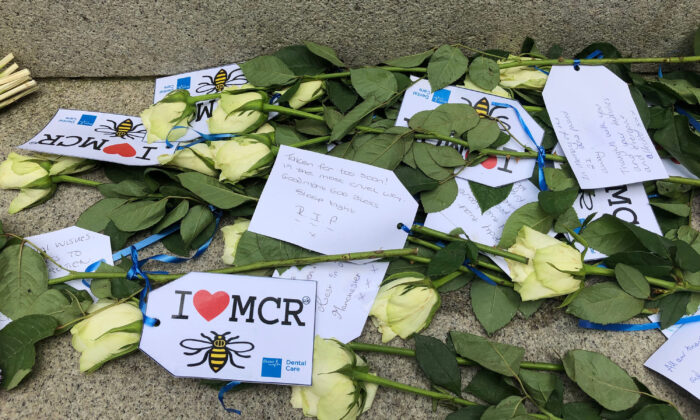 Undated photo showing floral tributes to victims of the Manchester Arena bombing in 2017. (Kim Pilling/PA)