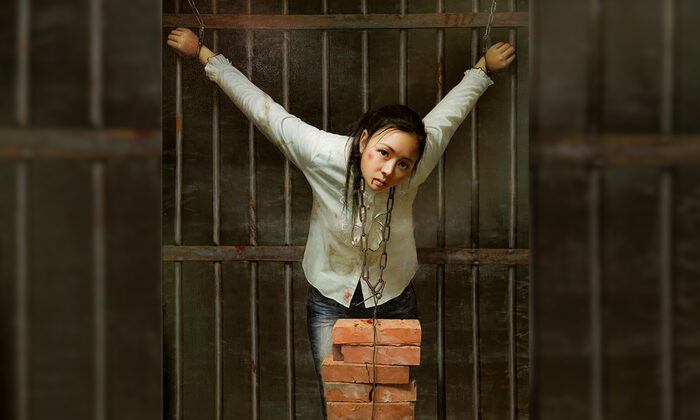 """A painting depicting the """"hanging bricks around the neck"""" torture method. It is one of the most common torture methods used to break the spirit of determined Falun Gong practitioners and coerce them to renounce their faith. (FalunArt.org)"""