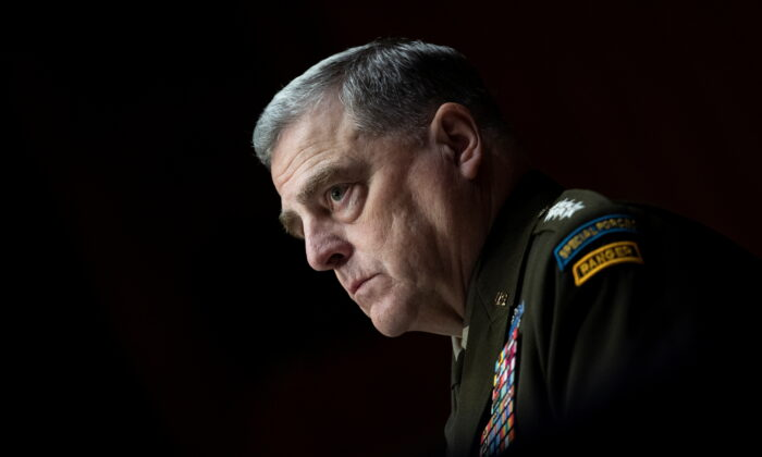 Chairman of the Joint Chiefs of Staff Gen. Mark Milley looks on during a Senate Appropriations Committee hearing in Washington, on June 17, 2021. (Caroline Brehman/Pool via Reuters)