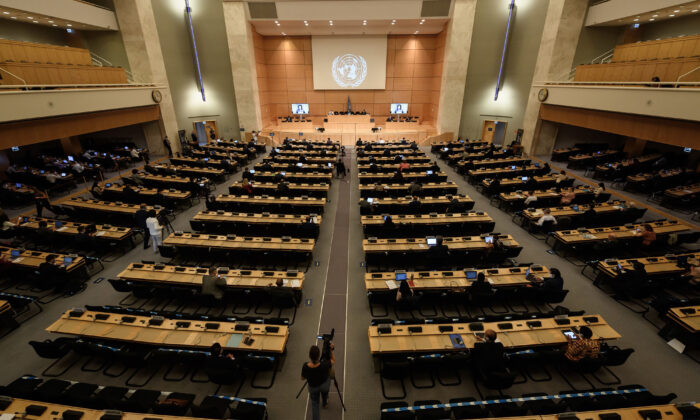General view at the opening of the U.N. Human Rights Council's 44th session in Geneva, Switzerland, on June 30, 2020. (Fabrice Coffrini/AFP via Getty Images)