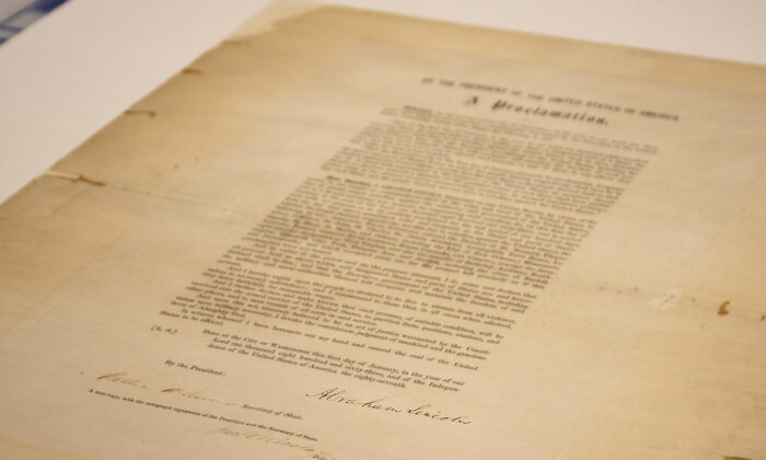 A signed copy of Emancipation Proclamation, displayed at the Abraham Lincoln Presidential Library and Museum, on June 8, 2021. (Abraham Lincoln Presidential Library and Museum photo via AP)