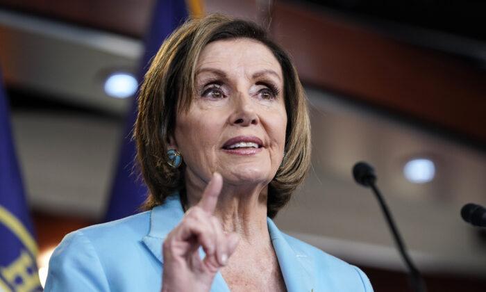 House Speaker Nancy Pelosi (D-Calif.) speaks to reporters in Washington on June 17, 2021. (Joshua Roberts/Getty Images)