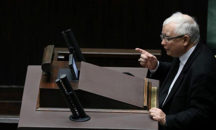 Law and Justice (PiS) leader Jaroslaw Kaczynski speaks during a parliament session in Warsaw, Poland, on Oct. 28, 2020. (Slawomir Kaminski/Agencja Gazeta/via Reuters)