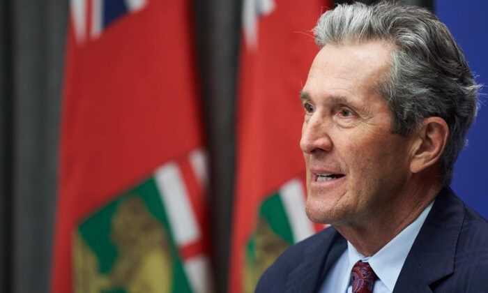 Premier of Manitoba Brian Pallister speaks at a news conference after the 2021 budget was delivered at the Manitoba Legislative Building in Winnipeg on April 7, 2021. (The Canadian Press/David Lipnowski)