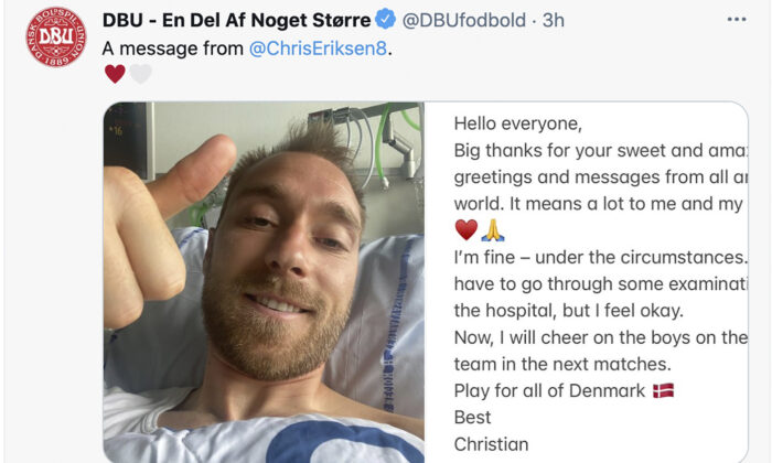 A combo image issued by the DBU of Denmark soccer player Christian Eriksen gesturing from his hospital bed and the message that he sent to accompany the photo on June 15, 2021. (DBU via AP)