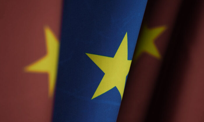 Flags of China and the European Union stand at the Chancellery in Berlin, Germany on Jan. 26, 2021. (Sean Gallup/Getty Images)