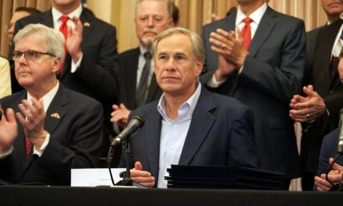 Texas Gov. Greg Abbott speaks at a press conference in San Antonio, Texas, on June 17, 2021. (Marina Fatina/NTD)