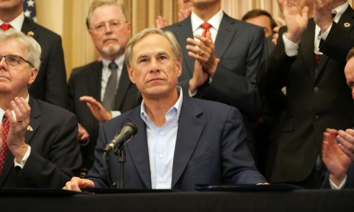 Texas Gov. Greg Abbott speaks at a press conference where he signed a gun rights bill in San Antonio, Texas, on June 17, 2021. (Marina Fatina/NTD)