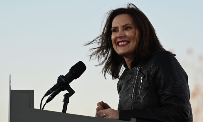 Michigan Governor Gretchen Whitmer speaks during a mobilization event at Belle Isle Casino in Detroit, Michigan, with former US President Barack Obama and Democratic Presidential candidate and former US Vice President Joe Biden on Oct. 31, 2020. (Jim Watson/AFP via Getty Images)