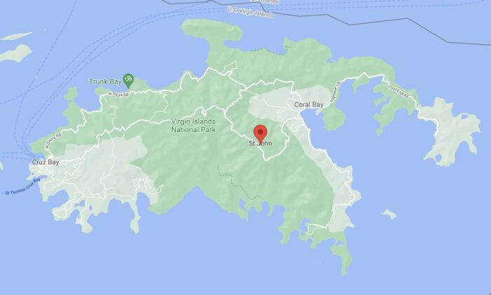 A map showing St. John, US Virgin Islands. (Google Maps)