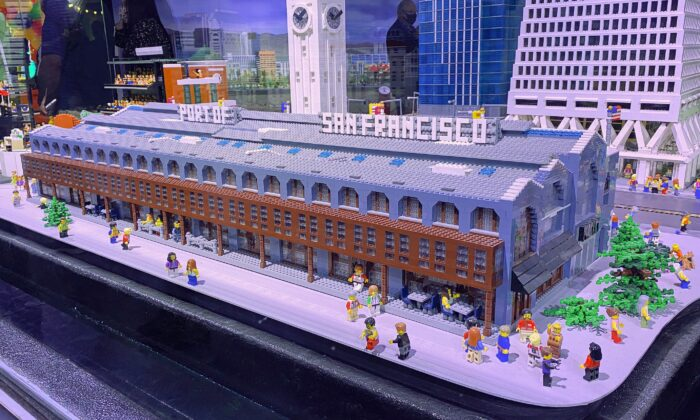 A miniature Port of San Francisco built of Lego bricks is part of Miniland displayed at Legoland Discovery Center Bay Area in the Great Mall in Milpitas, Calif., on June 14, 2021. (Ilene Eng/The Epoch Times)