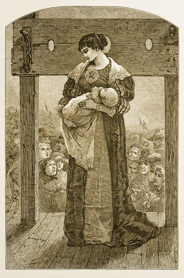Hester Prynne and Pearl before the stocks, an illustration by Mary Hallock Foote from an 1878 edition of The Scarlet Letter.
