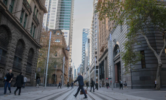 A general view is seen as a businessman crosses George street at in Sydney, Australia, on June 1, 2020. (Mark Kolbe/Getty Images)