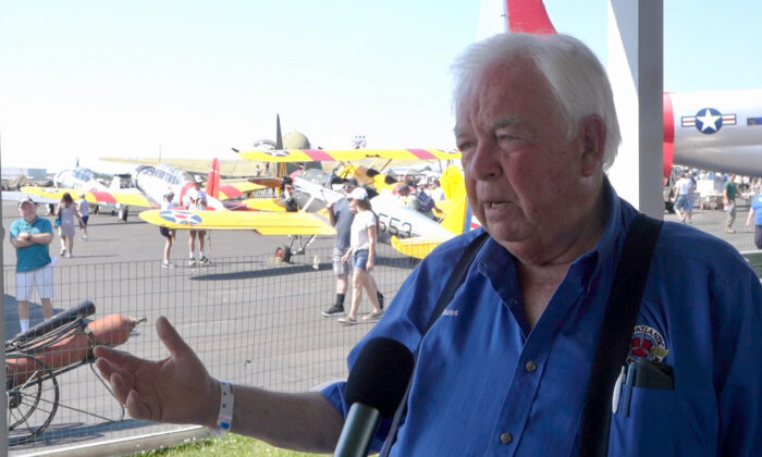 Russ Strine, founder and president of the Mid-Atlantic Air Museum, Reading, Pa., in an interview with The Epoch Times on June 6, 2021. (Serena Shi/The Epoch Times)