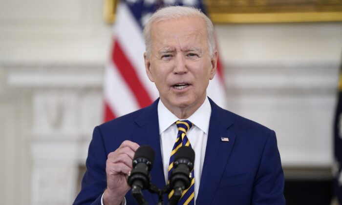 President Joe Biden speaks about reaching 300 million COVID-19 vaccination shots in the State Dining Room of the White House in Washington on June 18, 2021. (Evan Vucci/AP Photo)