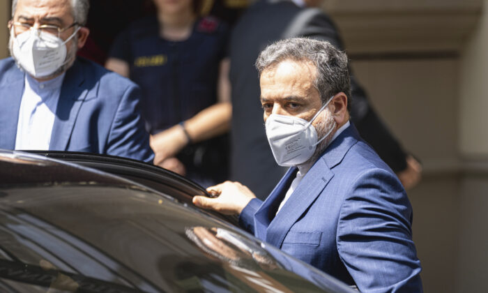 Political deputy at the Ministry of Foreign Affairs of Iran, Abbas Araghchi, arrives in front of the 'Grand Hotel Vienna' where closed-door nuclear talks take place in Vienna, Austria, on June 20, 2021. (Florian Schroetter/AP Photo)