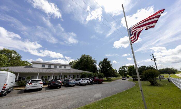 The U.S. Flag flies at half mast at the Alabama Sheriff's Girls Ranch in Camp Hill, Ala., on June 20, 2021. (Vasha Hunt/(AP Photo)